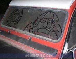 dust front window art