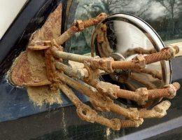 car mirror holder hand